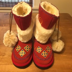 Woolenstocks Kids 11 Christmas Red Suede Boots